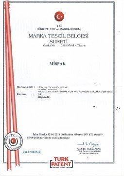 MİSPAK MARKA TESCİL BELGEMİZ